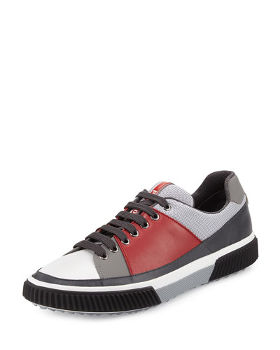 Leather & Mesh Low-Top Sneaker, Red/Gray