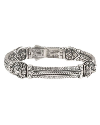 Men's Aeolus Sterling Silver Tiger Head Bracelet