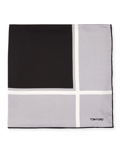 Box Silk Pocket Square, Gray