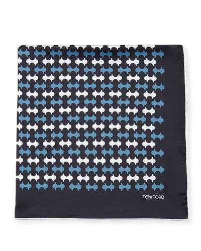 Track-Pattern Silk Pocket Square, Blue