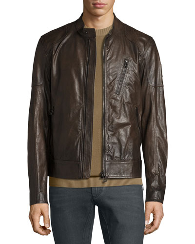 Moreland Perforated Leather Jacket, Brown