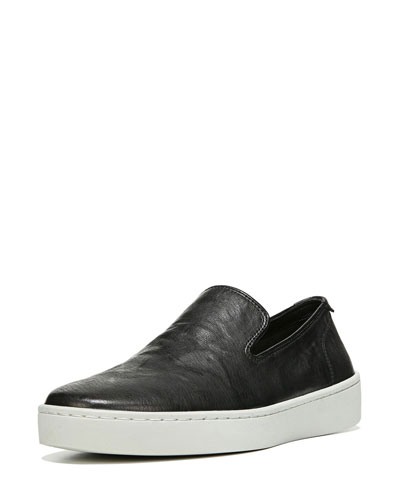 Sanborn Leather Slip-On Sneaker, Black