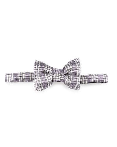 Textured Plaid Bow Tie, Purple