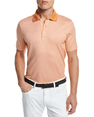 Melange Polo Shirt, Orange