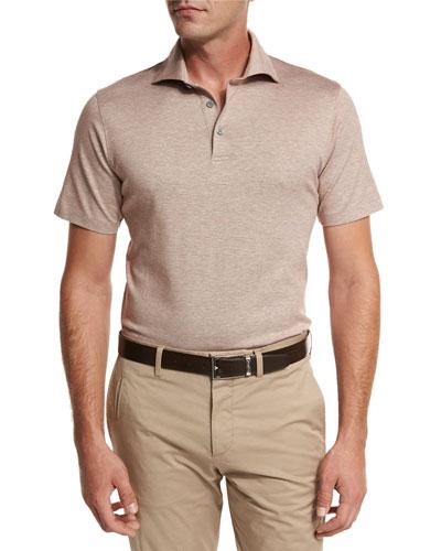 Jacquard Polo Shirt, Light Brown