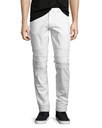 Westham Moto-Style Tapered Jeans, Vintage White