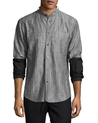 Zuka Wrinkled Combo Shirt, Black/White