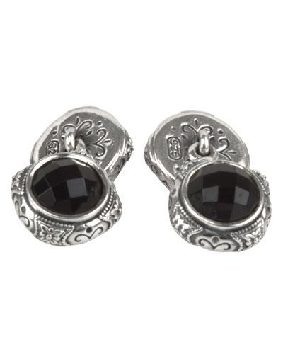 Aeolus Sterling Silver & Onyx Cuff Links