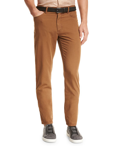 Five-Pocket Straight-Leg Pants, Cognac