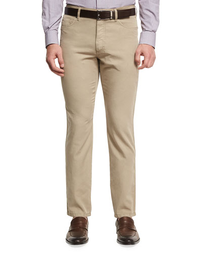 Five-Pocket Chino Pants, Medium Beige