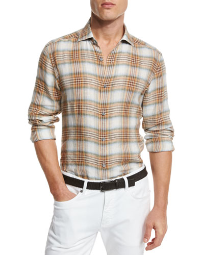 Plaid Linen Sport Shirt, Orange/Medium Brown Check