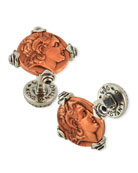 Men's Sterling Silver & Copper Alexander the Great Cuff Links w/Spinel Insets