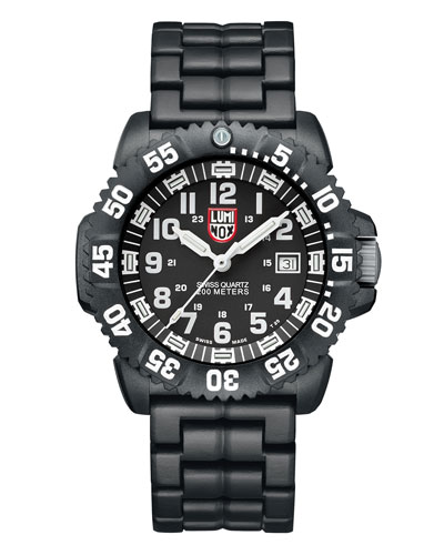 44mm Navy SEAL 3050 Series Colormark Watch, Black/White