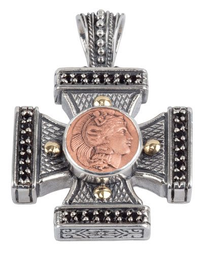Men's Aeolus Athena Cross Pendant w/Spinel