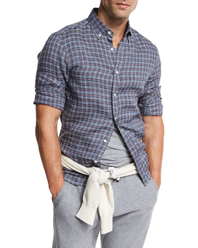 Plaid Leisure-Fit Sport Shirt, Indigo