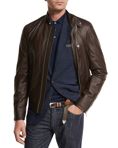 Lamb Leather Pilot Jacket, Brown