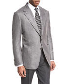 Shelton Base Hopsack Two-Button Sport Coat, Gray