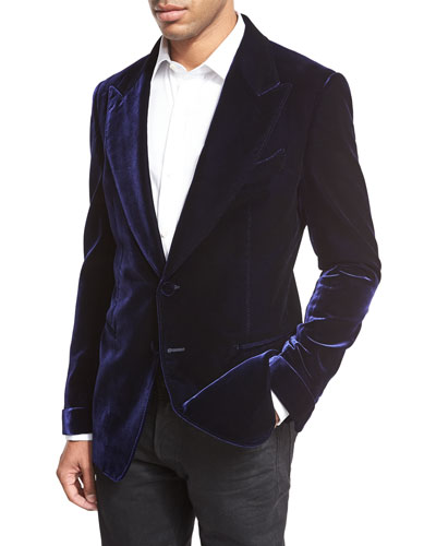 Mr. Ford Peak-Lapel Velvet Evening Jacket, Bright Blue