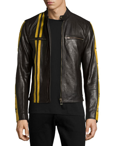 Mashburn Waxed Leather Jacket w/Racing Stripes