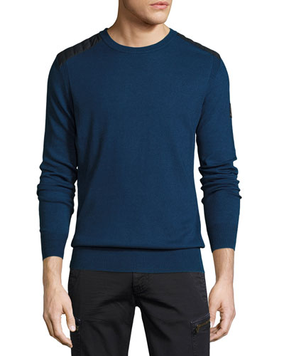 Kilnwood Quilted-Panel Sweater, Indigo