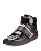 Herick Leather High-Top Sneaker, Black