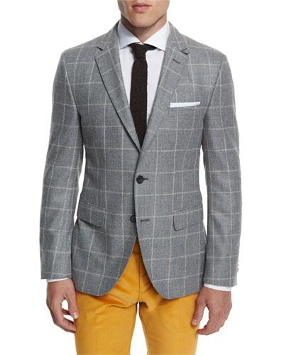 Jayson Windowpane Two-Button Sport Coat, Gray