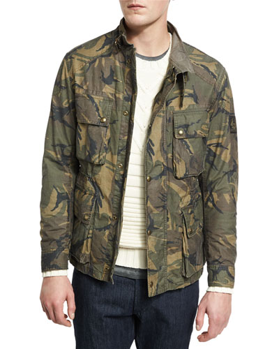 Tyefield Washed Camo-Print Waxed Cotton Utility Jacket, Green