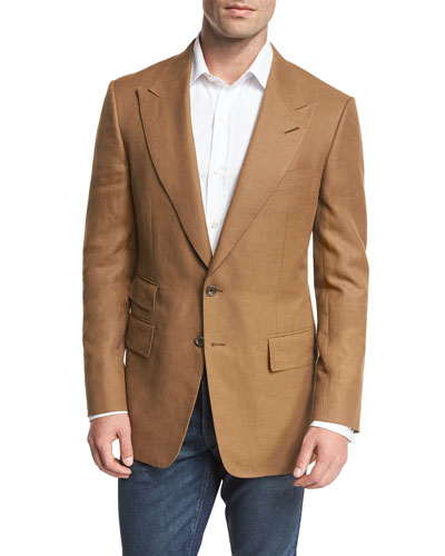 Shelton Linen Peak-Lapel Sport Coat, Tobacco