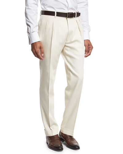 Double-Pleated Trousers, White