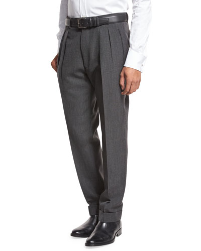 Double-Pleated Trousers, Gray