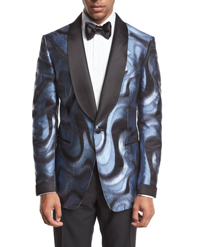 Shelton Base Moire Satin-Collar Evening Jacket, Light Blue/Gray