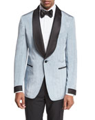 Shelton Base Satin Shawl-Collar Moire Evening Jacket, Pale Blue