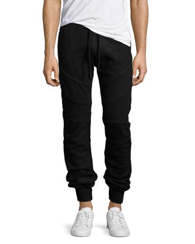 Coated Moto Sweatpants, Black