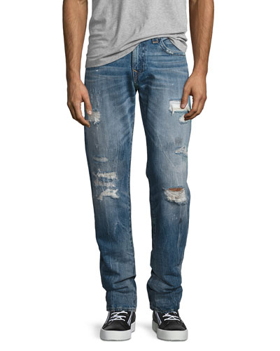 Geno Distressed Straight-Leg Jeans, Mended Misfit