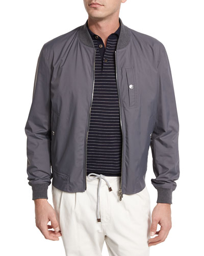 Nylon Baseball Jacket, Gray