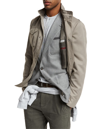 Brushed Nylon Field Jacket, Taupe