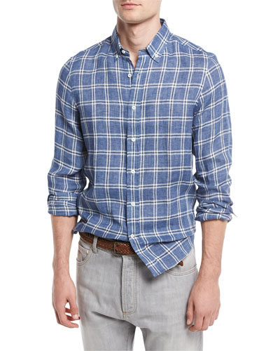 Macro-Check Leisure-Fit Linen Sport Shirt, Blue