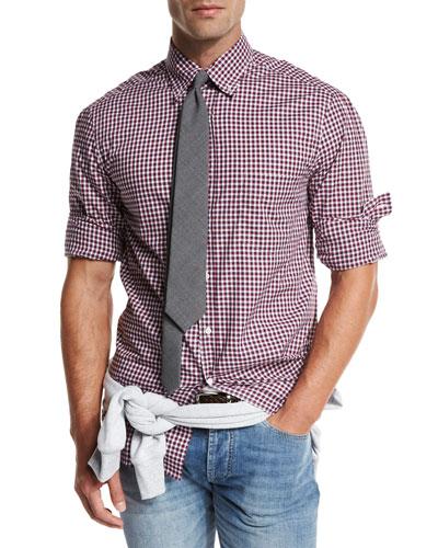 Check Basic-Fit Sport Shirt, Navy