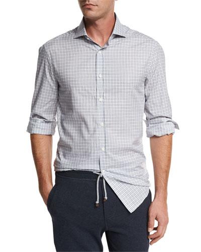 Box Check Spread-Collar Shirt, Gray