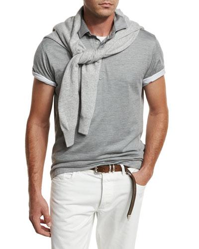 Silk Jersey Polo Shirt