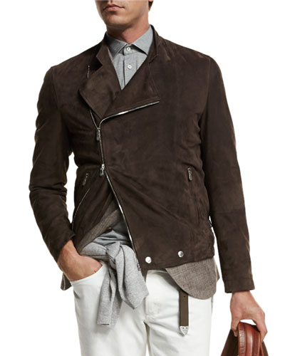 Asymmetric-Zip Suede Moto Jacket, Brown