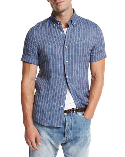Striped Short-Sleeve Leisure Sport Shirt, Indigo