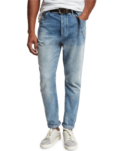 Leisure-Fit Straight-Leg Denim Jeans, Light Blue