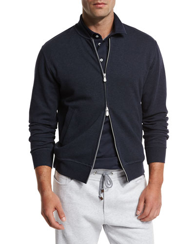 Zip-Front Spa Sweatshirt, Blue/Gray