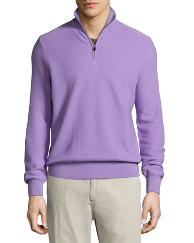 Wool-Cashmere Quarter-Zip Sweater, Lavender