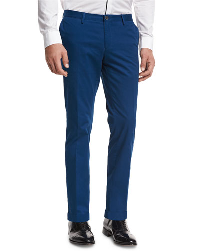 Slim-Straight Flat-Front Trousers, Bright Teal
