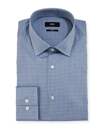 Box-Check Slim-Fit Dress Shirt, Blue