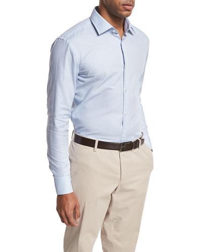 Micro-Print Dress Shirt, Blue/White
