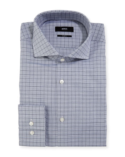 Box-Check Slim-Fit Dress Shirt, Navy