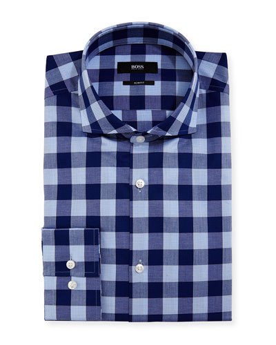 Buffalo-Check Slim-Fit Dress Shirt, Navy